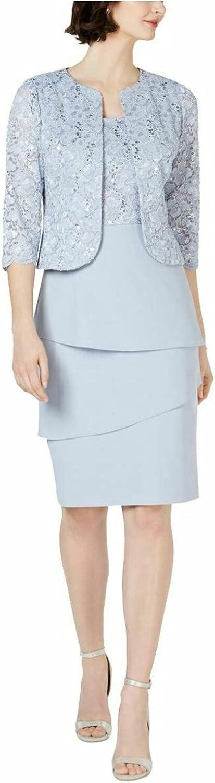 Alex Evenings Women's Asymmetric Tiered Skirt and Jacket (Regular and Petite)