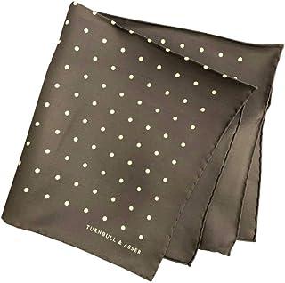 ポケットチーフ シルクチーフ メンズ 紳士 英国製 Silk ターンブル&アッサー Turnbull&Asser 大判 Darkgrey/White Dot Size42x42cm C009