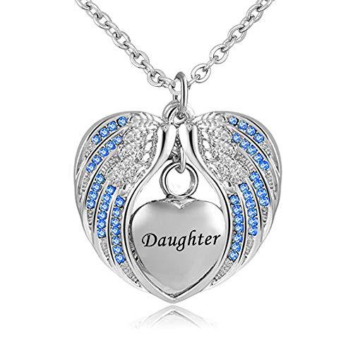 UGBJ Collar de la urna de Las alas de la Hija del ángel para la Ceniza Memorial Memorial del corazón del corazón del corazón del Acero Inoxidable Piedra de Nacimiento de la Piedra de Nacimiento