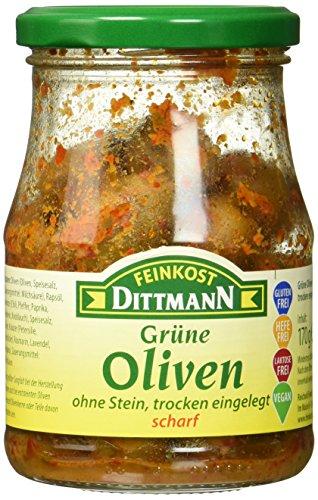 Feinkost Dittmann Grüne Oliven ohne Stein, trocken eingelegt, scharf (1 x 170 g)