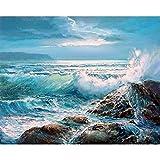 AGjDF Pintura ácida Ocean WaveDIY Digital Lienzo Pintura_óleo Regalo para Adultos Niños Pintura por Numero Kits Decoración del Hogar_40x50cm