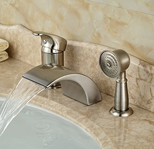 Rozin? Brushed Nickel 3pcs Waterfall Spout Single Handle Bathtub Filler Faucet with Hand Shower by Rozin