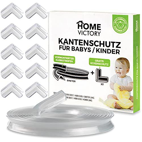 HomeVictory 6m Kantenschutz Baby [VORMONTIERTER KLEBESTREIFEN] + 8x Eckenschutz - Kindersicherung Kantenschutz für Möbel - Kantenschutz Transparent - Tischkantenschutz Baby - Baby Kantenschutz
