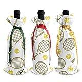 Raquettes de tennis balles sacs fourre-tout de bouteille de vin de Noël - 3pcs sacs de vin rouge cadeau pour décor de table de cuisine d'hôtel de fête
