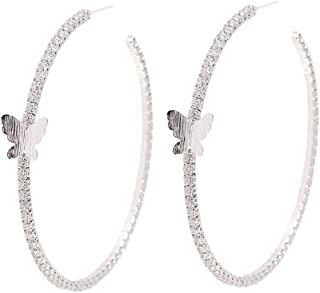 Large Zirconia Hoop Earrings for Women - YILIBAO (2019) Hypoallergenic Hoops Circle Earrings with Silver Needle, Christmas, Valentine's Day, Birthday Jewelry Gifts