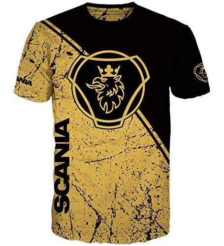 T-Shirt mit 3D Effekt Logo auf Vorder- und Rückseite für Scania Truck Driver Hemd T Shirt (XL)