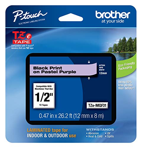 "Brother Genuine P-touch TZE-MQF31 Tape, 1/2"" (0.47"") Wide Standard Laminated Tape, Black on Pastel Purple, Laminated for Indoor or Outdoor Use, Water-Resistant, 0.47"" x 26.2' (12mm x 8M), TZEMQF31"