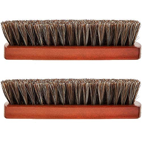 2 cepillos de pelo de caballo Shine Buff Polish Cleaner Brush cerdas de mango de madera para botas, zapatos, zapatillas de deporte, bolsas de cuero, muebles de sofá y asientos de coche