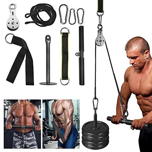 Fitness Weight Pulley System with Triceps Handle Bar and Pulldown Straps for DIY Home Gyms Garage Arm Forearm Wrist Shoulder Back Biceps Triceps Strength Training Exerciser LAT Cable Pulley System Attachment