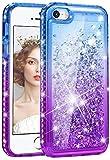 wlooo Funda para iPhone SE,Glitter liquida Cristal Diamante Case Lujo Moda Gradiente Bling Flowing Sparkly Cover Protector Brillante antigolpes Silicona Carcasa para iPhone SE/5/5S