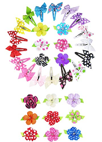 """Bundle: 17ct 2 Inch Ribbon Bow Snap Clips and 15ct 1.5"""" Ribbon Petal Hair Flower Clips"""