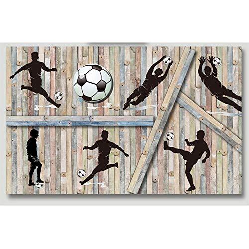 MINCOCO aangepaste grootte diep reliëf 3D houten blok voetbal spelen foto muurschildering voor Bar Boy kamer achtergrond decor behang 350 x 245 cm.