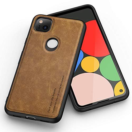 Kqimi for Google Pixel 4A Case, Premium Leather Slim Fit Business Style Stylish Elegant Soft Grip Shockproof Anti-Scratch Protection Cover Casesfor Google Pixel 4A (5.81 inch) 2020 (Brown)