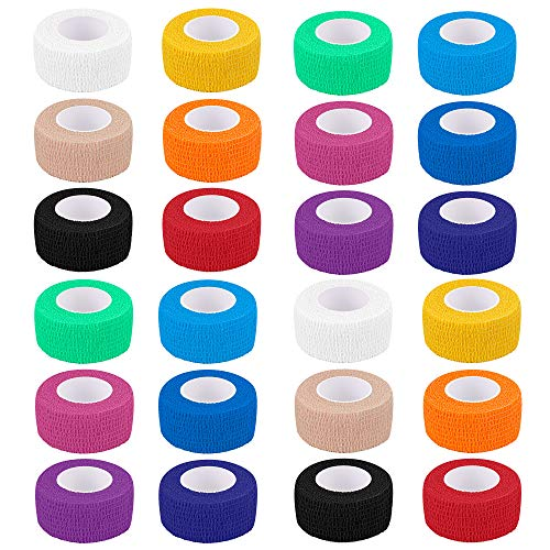 24 Pack Self Adherent Cohesive Wrap Bandages 1 Inches X 5 Yards, First Aid Tape, Elastic Self Adhesive Tape, Athletic, Sports wrap Tape, Bandage Wrap for Sports, Wrist, Ankle (Rainbow Color)
