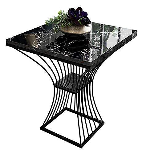 Carl Artbay Home & Selected Furniture/Nordic Marble bijzettafel woonkamer-sofa-hoek tafel salontafel slaapkamer nachtkastje 2 dieren opslag rek, 18,8 ''; 23,6 '' (kleur: wit)