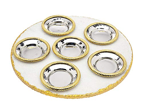 Passover Seder Plate Judaica White Marble with Gold Trim