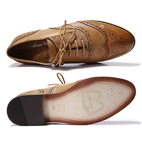 Mona flying Women's Leather Perforated Lace-up Saddle Oxfords Brogue Wingtip Derby Shoes