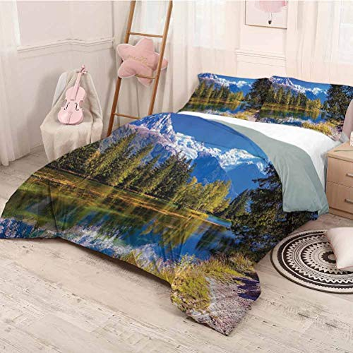 HELLOLEON Lake House Decor Pure Bedding Hotel Luxury Bed Linen Snow Covered Alpes Abeto Árboles en Lago Serenity en poliéster natural paraíso, suave y transpirable (King) verde, blanco y azul