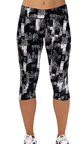 DaDa Deal Women's Printed Active Workout Capri Pants Yoga Leggings Tights(S,Black57)
