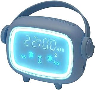 Perfk Kids Night Light Alarm Clock Bedroom Night Sleeping Lamp Children Sleep Trainer - Light Blue, 133 x 44.5 x 115mm