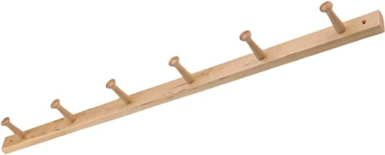 """iDesign Wood Wall Mount 6-Peg Coat Rack for Coats, Leashes, Hats, Robes, Towels, Jackets, Purses, Bedroom, Closet, Entryway, Mudroom, Kitchen, Office, 32.3"""" x 2.8"""" x 1.5"""", Natural Wood"""