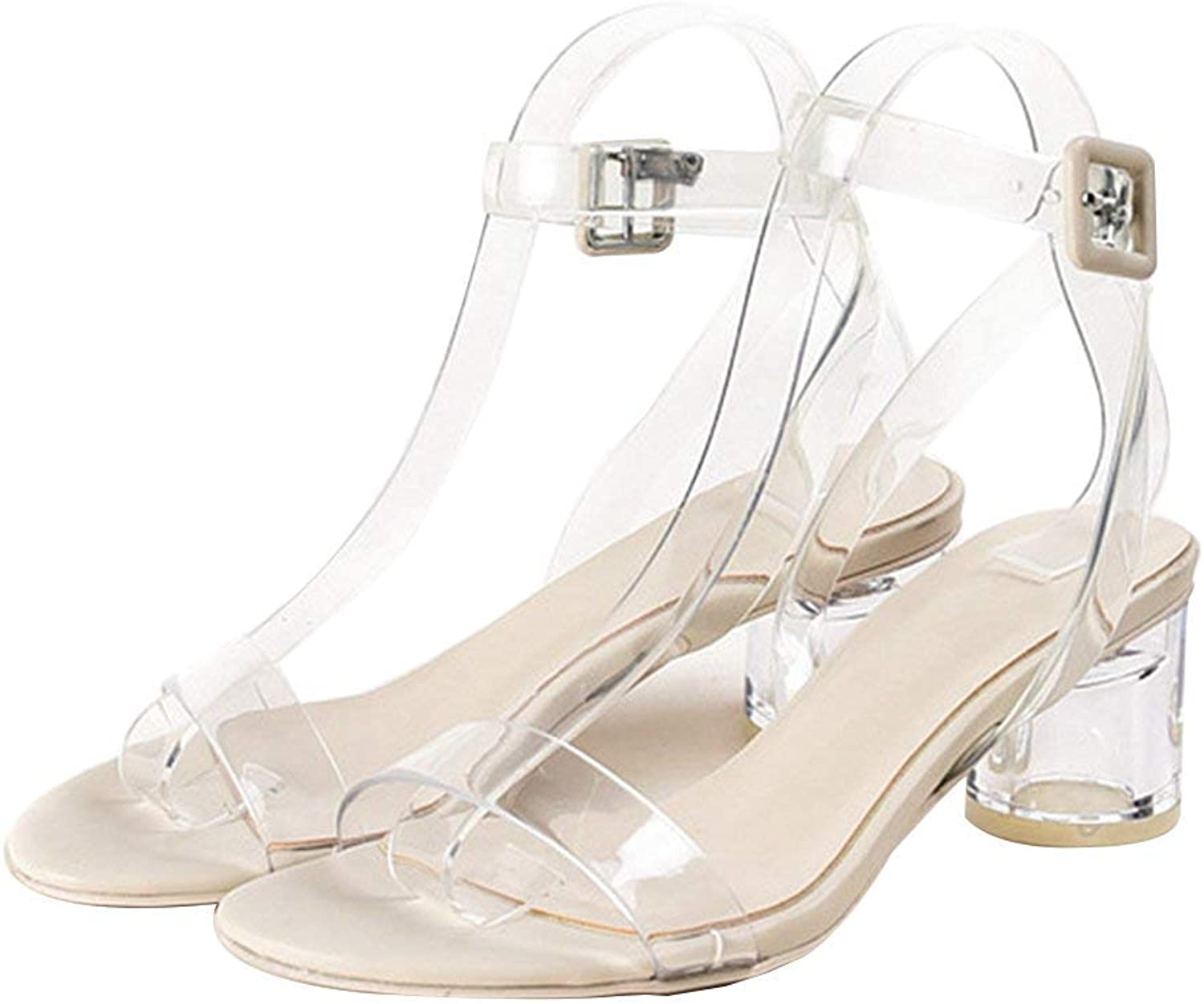 Elsa Wilcox Womens Ankle Strap Adjustable Buckle Peep Toe Low Chunky Sandal Clear Strappy Block Heel