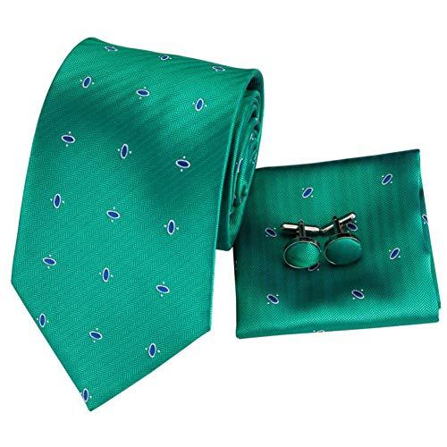 KDSXMLS 8,5 cm 100% Seide Herren Hellgrün Krawatte Dot Krawatte Einstecktuch Manschettenknöpfe Set Für Herren Klassische Hochzeit Krawatte Set 150 cm Lang