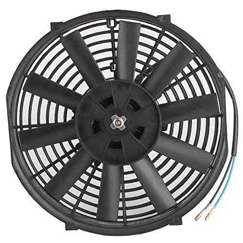 Akozon Ventilador de enfriamiento del motor 10 pulgadas 12V 80W Ventilador de enfriamiento electrónico delgado Tasa de flujo de aire de 2100RPM 10 Cuchillas rectas Universal