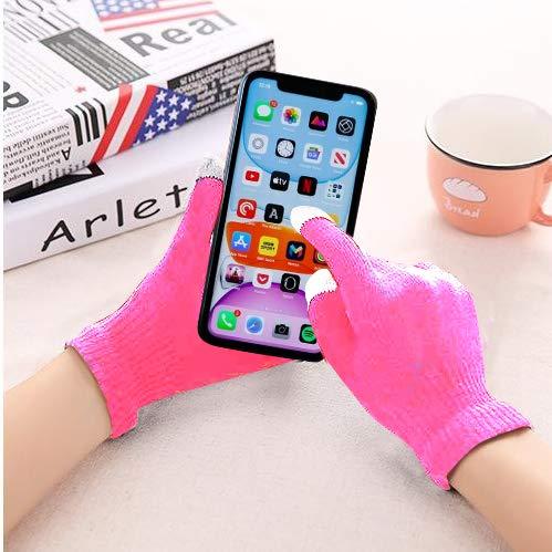Guanti caldi per touch screen, compatibili con iPhone, Android, iPad, tablet e altro [materiale elastico] anche per Asus PadFone X Mini, colore: rosa