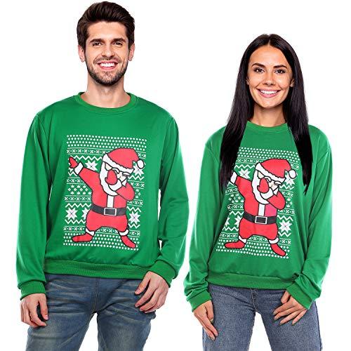 DINIGOFIN Ugly Christmas Sweater Men Xmas Funny Sweatshirts for Women Dabbing Santa Long Sleeve Couples Pullover, Green L