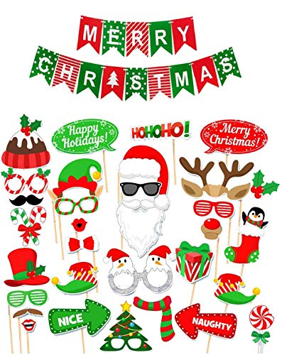 Christmas Photo Booth Props And Merry Christmas Banner DIY Christmas Photo Props 32 Piece Christmas Props And 8.2 Foot Christmas Banners - Funny Holiday Photo Booth Props And Xmas Selfie Props
