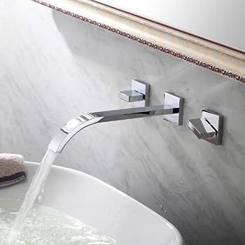 Lightinthebox Two Handle Widespread Flexble Wall Mounted Bathroom Vessel Sink Lavatory Faucet Chrome Finish Spout Bathtub Mixer Taps Bath Shower FaucetsShower System Widespread Waterfall Faucets
