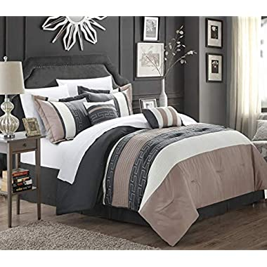 Chic Home Carlton 6-Piece Comforter Set, Queen Size, Taupe