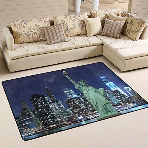 Mnsruu - Tapis illustrant la ligne d'horizon de New York et la Statue de la Liberté à Manhattan - Tapis pour salon, chambre à coucher - 91 cm x 61 cm