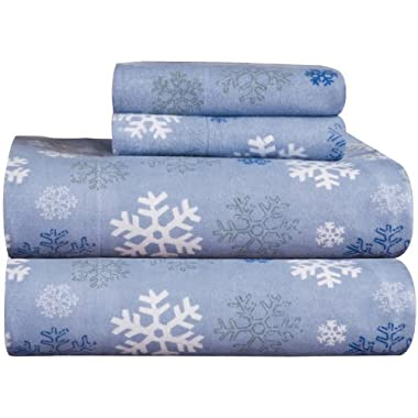 Pointehaven Heavy Weight Printed Flannel 100-Percent Cotton Sheet Set, Snow Flakes, King