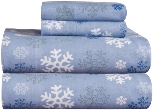 Pointehaven Heavy Weight Printed Flannel 100Percent Cotton Sheet Set Queen Snow Flakes