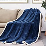 Sagino Throw Blanket Sherpa Fleece Blanket Reversible Lightweight Flannel Blanket Ultra Soft & Fuzzy Plush Microfiber Blanket for Couch, Bed and Sofa (Twin 60'x80', Navy Blue)