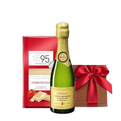 〔お中元・夏ギフト〕お祝い 結婚祝い 結婚記念日 誕生日【ワインとスイーツのギフトセット】フランス産 スパークリングワイン やや甘口「キュヴェ・インペリアル・トラディション」375ML/ホワイトチョコレート 箱入り 贈答用 贈り物 プレゼント