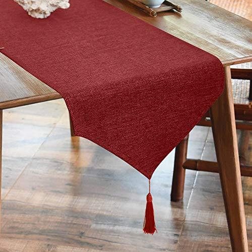 Balcony&Falcon Leinenoptik Tischläufer Rot Abwaschbar Tischläufer Tischdecke Elegante Heimtextilien für Den Innen- und Außenbereich Tischdekoration Tischläufer Wien 35x180 cm