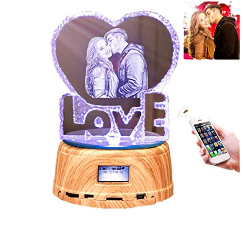 Personalise Photo Bluetooth Speaker Engraved Crystal 3D Love Colorful LED Light Music Box Christmas Thanksgiving Gifts Crystal Love f