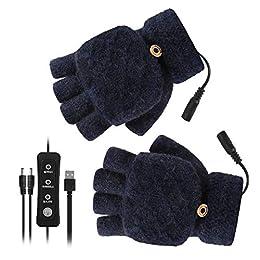 DaMohony Guantes calentados por USB guantes calientes de invierno guantes de calentamiento con 3 ajustes de temperatura para hombres y mujeres