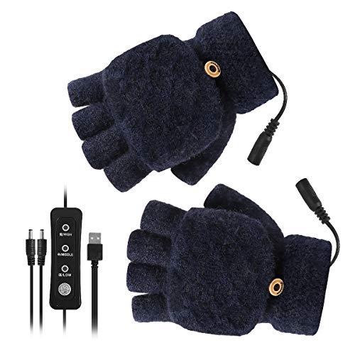 OhhGo USB Beheizte Handschuhe Herren Damen Winter Elektrische Heizung Handschuhe Fäustling 3 Temperatureinstellungen