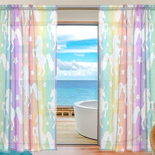 yibaihe Fenster Vorhänge, Gardinen Platten Fenster Behandlung Set Voile Drapes Tüll Vorhänge weiß Einhörner auf bunten Streifen 198,1cm lang für Wohnzimmer Schlafzimmer Girl 's Room 2Platten