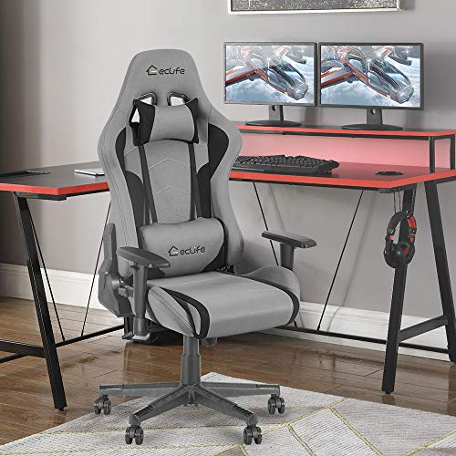 Okeysen Gaming Chair,Ergonomic Recliner High Back Computer Game Chair, Massage Lumbar Support and Upgraded headrest, Racing Style Swivel Executive Office Desk Chair, Mesh Home Chair. (Grey)