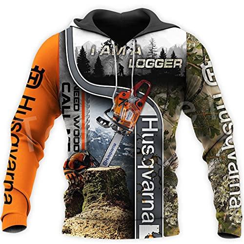 SDSVFG Sudaderas con Capucha Impresas 3D de la Herramienta del Registrador de la Motosierra del Trabajador, Sudaderas con Capucha de la Cremallera de Las Camisetas del Jersey de los Hombres