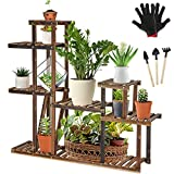 Tall Plant Stand Without Wheels, 10-14 Potted Wood Flower Shelves Indoor Outdoor Planter Rack for Patio <span class='highlight'>Garden</span> Corner Balcony Living Room (L Shape)