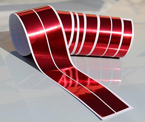 Chrom Hologramm Zierstreifen Folie Klebefolie Aufkleber Dekorstreifen KX010 (Chrom Rot, 4Meter x 30mm)