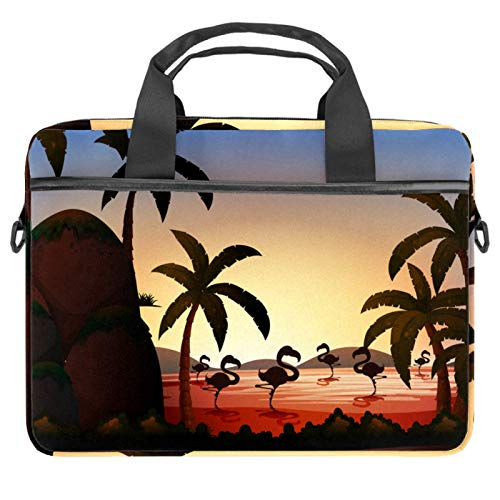 Laptop Bag Flamingo Coconut Tree at The River Silhouette Notebook Sleeve with Handle 13.4-14.5 inches Carrying Shoulder Bag Briefcase
