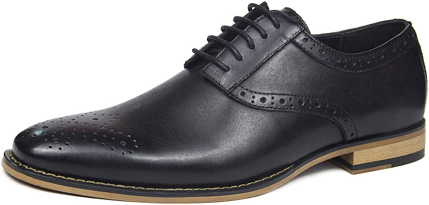 Mens Leather shoes Business Formal Dress Lace ups shoes Classic Brogue Carved Non-slip shoes for Male Wedding Work Utility Footwear