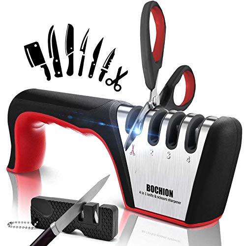 Afilador de Cuchillos, 4 en 1 Afilador Cuchillos Profesional Con 2 en 1 Afilador de Cuchillos Pequeño, Base de Acero Inoxidable Antideslizante para Knife de Cocina y Tijeras, Kit de Knife Sharpener